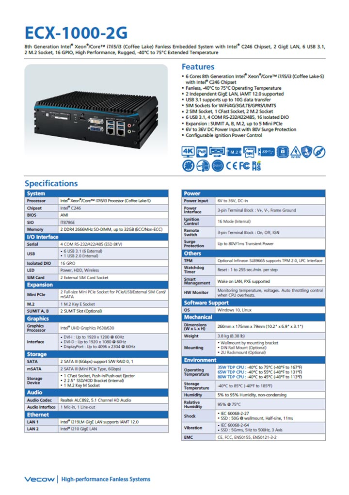 Vecow ECX-1000 2g Data Sheet Catalogue Cover